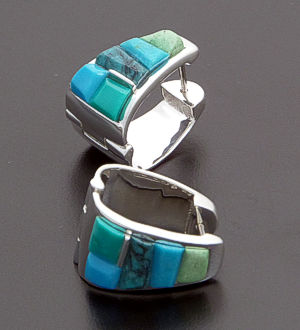 Supersmith Inc. - David Rosales Designs - Pine Hill Cobble Inlay & Sterling Silver Wide Huggie Hoop Earrings #39376 Style ER222C $290.00