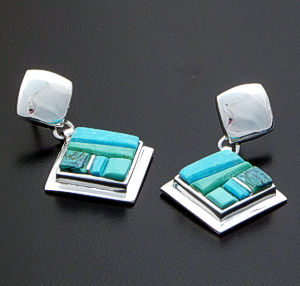 Supersmith Inc. - David Rosales Designs - Pine Hill Cobble Inlay & Sterling Silver Square Dangle Earrings #39377 Style ER506C $295.00