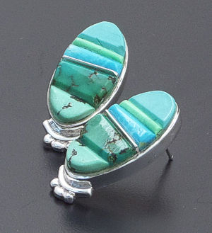 Supersmith Inc. - David Rosales Designs - Pine Hill Cobble Inlay & Sterling Silver Oval Earrings #39378 Style ER232C $260.00