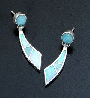Supersmith Inc. - David Rosales Designs - Amazing Light Inlay & Sterling Silver Curved Moon Dangle Earrings #39382 Style ER217 $170.00