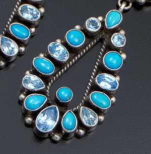 Geneva Apachito (Navajo) - Turquoise & Blue Topaz Cluster & Teardrop Sterling Silver Post Dangle Earrings #39489 $450.00