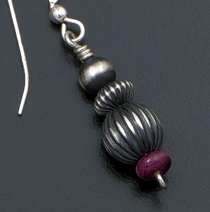 Navajo - Purple Spiny Oyster Shell & Oxidized Sterling Silver Mixed Bead Dangle Earrings #39548 $65.00