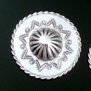 L.T. (Leonard) Chee (Navajo) - Stamped Repoussé Sterling Silver Round Concho Earrings #39566 $90.00