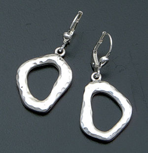 Zina - Textured Open Geometric Sterling Silver Dangle Earrings #39588 $135.00