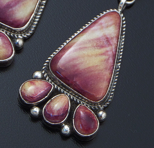Geneva Apachito (Navajo) - Purple & Yellow Spiny Oyster Shell Sterling Silver Cluster Post Dangle Earrings #39768 $285.00