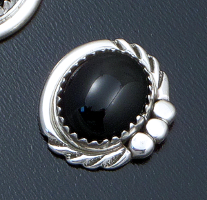 Delores Cadman (Navajo) - Oval Black Onyx & Sterling Silver Trimmed Twist Button Earrings #39898 $25.00
