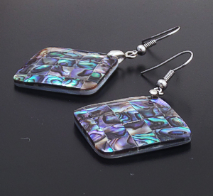 Navajo - Abalone Shell & Sterling Silver Square Dangle Earrings #39924B $30.00