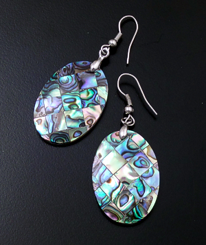 Navajo - Abalone Shell & Sterling Silver Oval Dangle Earrings #39924C $30.00