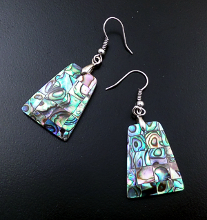 Navajo - Abalone Shell & Sterling Silver Tapered Rectangle Dangle Earrings #39924E $30.00