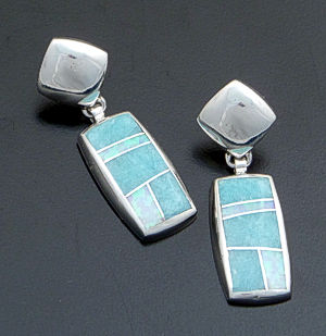 Supersmith Inc. - David Rosales Designs - Amazing Light Inlay & Sterling Silver Rectangular Dangle Earrings #40002 Style ER022 $250.00