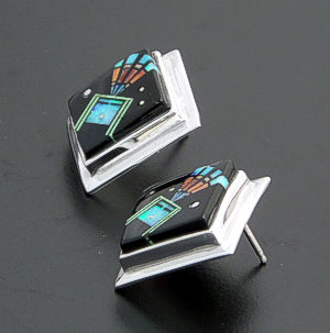 Supersmith Inc. - David Rosales Designs - Twilight Inlay & Sterling Silver Square Yei Earrings #40003 Style ER514M $330.00