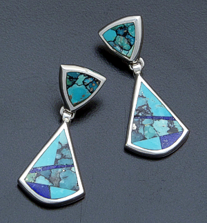 Supersmith Inc. - David Rosales Designs - Blue Mountain Inlay & Sterling Silver Double Triangle Earrings #40005 Style ER633 $190.00