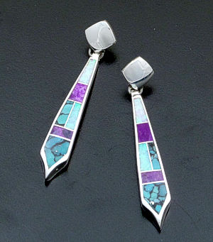 Supersmith Inc. - David Rosales Designs - Shalako Inlay & Sterling Silver Long Tab Dangle Earrings #40007 Style ER120 $280.00