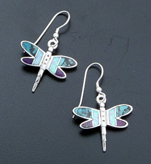 Supersmith Inc. - David Rosales Designs - Shalako Inlay & Sterling Silver Dragonfly Dangle Earrings #40008 Style ER800 $210.00