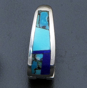 Supersmith Inc. - David Rosales Designs - Blue Mountain Inlay & Sterling Silver Huggie Hoop Earrings #40039 Style ER307 $240.00