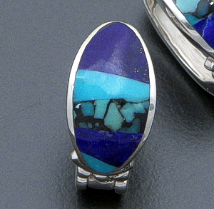 Supersmith Inc. - David Rosales Designs - Blue Mountain Inlay & Sterling Silver Oval Huggie Hoop Earrings #40040 Style ER331 $260.00