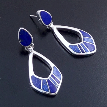 Supersmith Inc. - David Rosales Designs (Navajo) - Blue Water Inlay & Sterling Silver Square & Double Teardrop Post Dangle Earrings #40274 ER209 $220.00