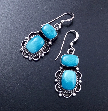 Darrell Cadman (Navajo) - Decorative Carico Lake Turquoise & Sterling Silver Dangle Earrings #40583 $80.00