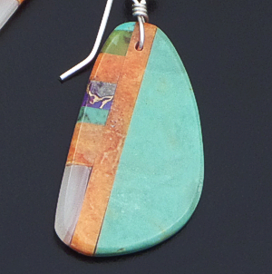 Santo Domingo - Turquoise & Multistone Inlay Slab Dangle Earrings #40832 $95.00