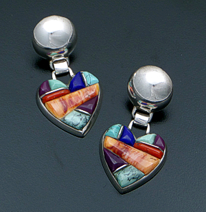 Lynol Yellowhorse (Navajo) - Vintage Multistone Heart Cobble Inlay & Sterling Silver Button Post Dangle Earrings #40930 $425.00