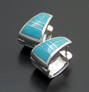 Supersmith Inc. - David Rosales Designs - Persian Turquoise Inlay & Sterling Silver Large Huggie Hoop Earrings #41152 Style ER222 $285.00