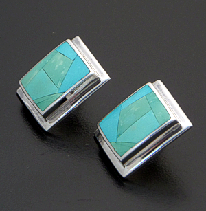 Supersmith Inc. - David Rosales Designs - Persian Turquoise Inlay & Sterling Silver Edged Square Earrings #41153 Style ER514 $265.00