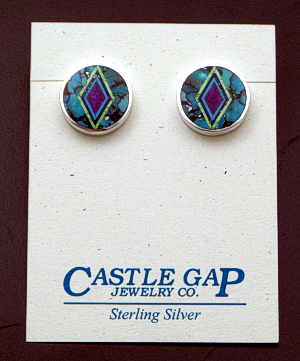 Supersmith Inc. - David Rosales Designs - Multistone Micro Inlay & Sterling Silver Round Button Earrings #41157 Style P509M $270.00