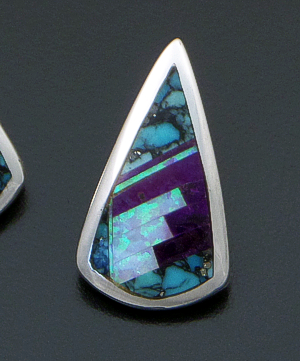 Supersmith Inc. - David Rosales Designs - Shalako Fancy Inlay & Sterling Silver Teardrop Earrings #41167 Style ER838F $275.00