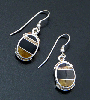 Supersmith Inc. - David Rosales Designs (Navajo) - Native Earth Inlay & Sterling Silver Framed Oval Dangle Earrings #41175 Style ER8001 $145.00