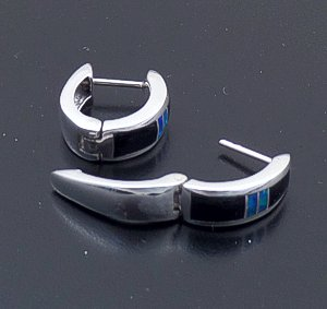 Supersmith Inc. - David Rosales Designs - Black Beauty Inlay & Sterling Silver Huggie Hoop Earrings #41181 Style ER306 $220.00