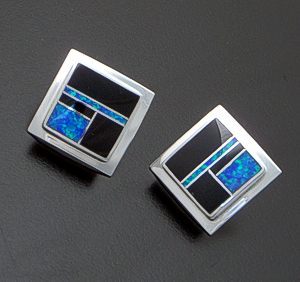 Supersmith Inc. - David Rosales Designs - Black Beauty Inlay & Sterling Silver Edged Square Earrings #41183 Style ER500 $175.00