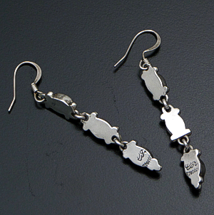Carlyn Apachito (Navajo) - Triple Oval Multistone & Sterling Silver Dangle Earrings #41223 $95.00