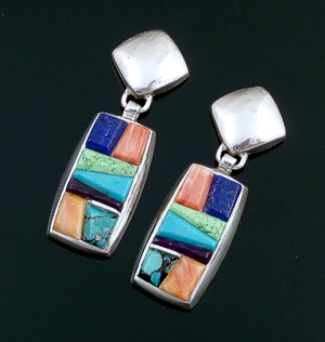 Supersmith Inc. - David Rosales Designs (Navajo) - Indian Summer Inlay & Sterling Silver Square & Rectangle Post Dangle Earrings #41633 ER022C $300.00