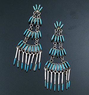 Jeanine Lastiyama (Zuni) - Four Tier Turquoise Needlepoint & Fringe Sterling Silver Post Dangle Earrings #41705 $325.00