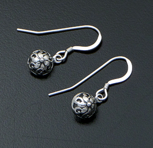 Small Sterling Silver Button Dangle Earrings #41905 $20.00