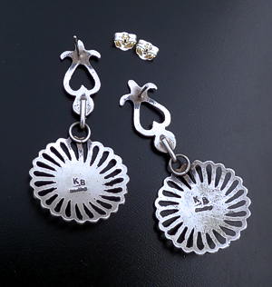 Kevin Billah (Navajo) - Coral Accented Satin Finished Sterling Silver Ornate Post Dangle Earrings #41943 $195.00