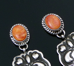 Darryl Becenti (Navajo) - Orange Spiny Oyster Shell & Oxidized Stamped Sterling Silver Post Dangle Earrings #41962 $225.00
