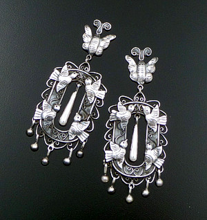 Federico - Oaxacan Butterfly & Dove Picture Frame Sterling Silver Post Dangle Earrings #42140 $480.00