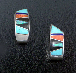 Navajo - Multistone Channel Inlay & Sterling Silver Ribbon Twist Half Hoop Earrings #42203 $150.00