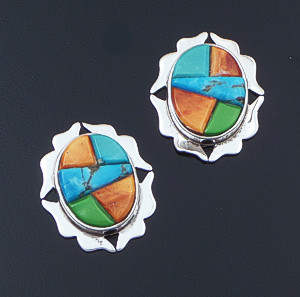 Navajo - Oval Multistone Cobble Inlay & Sterling Silver Earrings #42204 $225.00