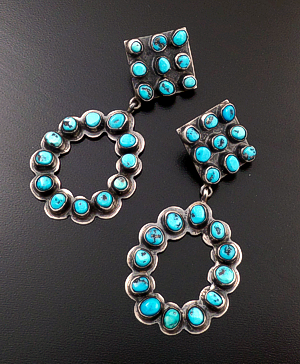 Navajo - Turquoise & Oxidized Sterling Silver Square & Oval Post Dangle Earrings #42215 $300.00