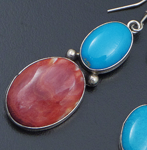 Navajo - Turquoise & Spiny Oyster Shell Double Oval Dangle Earrings #42340 $120.00