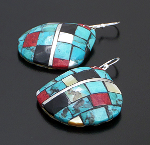 Lupita Calabaza (Santo Domingo) - Turquoise & Multistone Checkerboard Inlay Shell Dangle Earrings #42512 $90.00