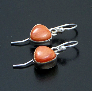 Navajo - Small Triangular Orange Spiny Oyster Shell & Sterling Silver Dangle Earrings #42662A $60.00