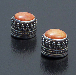 Navajo - Round Orange Spiny Oyster Shell & Ornate Sterling Silver Stud Earrings #42666A $50.00