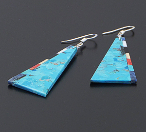 Torevia Crespin (Navajo) - Multistone Side Inlay Turquoise Triangular Slab Dangle Earrings #42786 $90.00