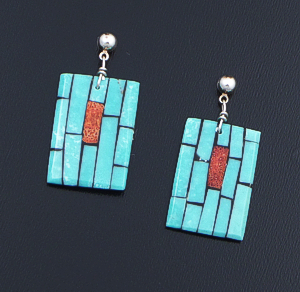 Charlotte Reano (Santo Domingo) - Turquoise & Coral Mosaic Inlay Rectanglular Post Dangle Earrings #42789 $95.00