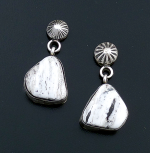 E. Largo (Navajo) - Satin Finished Sterling Silver Button & White Buffalo Turquoise Post Dangle Earrings #43093 $95.00