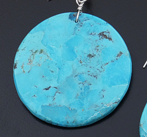 Lupe Lovato (Santo Domingo) - Round Turquoise Slab Dangle Earrings #43225 $110.00