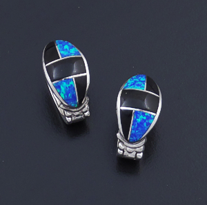 Supersmith Inc. - David Rosales Designs (Navajo) - Black Beauty Inlay & Sterling Silver Oval Huggie Hoop Earrings #43286 ER331 $265.00